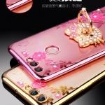 (025-1203)เคสโทรศัพท์มือถือหัวเว่ย Case Huawei Y9 2018 เคสนิ่มใสลายดอกไม้แหวนโลหะน่ารักๆ