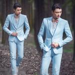 สูทชาย,ชุดสูท สีฟ้า +เสื้อกั๊ก พร้อมส่ง S,M,L,XL,2XL