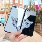 (633-023)เคสมือถือไอโฟน Case iPhone X เคสนิ่มพื้นหลังกระจกลายน้องแมวน่ารักตามหาเจ้าของ