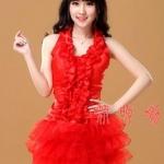รหัส show girl 54 สีแดง เซ็ต 2ชิ้น เสื้อ+กระโปรง