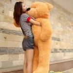 ตุ๊กตาหมีผูกโบว์สีน้ำตาลอ่อน ขนาด 1.8 m.