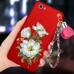 (694-018)เคสมือถือ Case OPPO R9 Plus เคสนิ่มคลุมเครื่องสีแดงลายดอกไม้แฟชั่นสวยๆ พร้อมสายคล้องมือลายดอกไม้