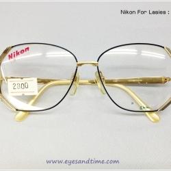 กรอบแว่นเก่า Nikon for Ladies กรอบใหญ่ ทรงคล้ายหกเหลี่ยม