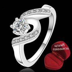 ฟรีกล่องแหวน R909 แแหวนเพชรCZ ตัวเรือนเคลือบเงิน 925 หัวแหวนเพชรล้อม ขนาดแหวนเบอร์ 7