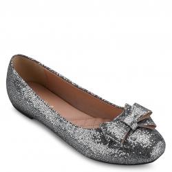 Silver Glitter Flat Shoes With Bow size 37 รองเท้าส้นแบนแต่งกลิตเตอร์สีเงินและโบว์สุดหรูไซส์ 37