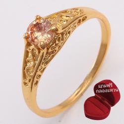 ฟรีกล่องแหวน แหวนเคลือบทองคำ 14K หัวแหวน Citrine ขนาดแหวนเบอร์ 10
