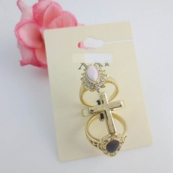 FOREVER21 3in1 Vintage Flower Cross Knuckle Set Ring แหวนชุดวินเทจ 3 วง