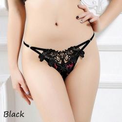 Black Sexy Diva Open Crotch G-String กางเกงในจีสตริงเปิดเป้าดำปักลายดอกไม้ เซ็กซี่สุดหรู