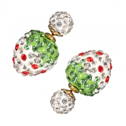 White Strawberry Crystal Stud Earing ต่างหูรูปสตอเบอรี่สีขาวแต่งคริสตัล สุดหรู
