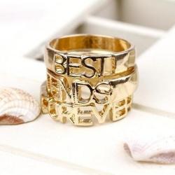 3in1 Best Friend Forever Set Ring แหวนชุดสีทอง 3 วง เพื่อนกันตลอดกาล