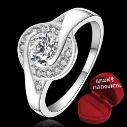ฟรีกล่องแหวน R887 แหวนเพชรCZ ตัวเรือนเคลือบเงิน 925 หัวแหวนเพชรล้อม ขนาดแหวนเบอร์ 7-8