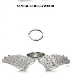 Vintage Hollywood White Angel Wing Set Ring แหวนชุดปีกนางฟ้าสีเงินพร้อมแหวนข้อนิ้ว