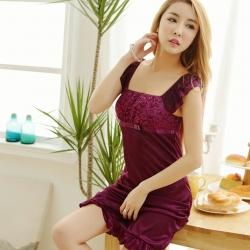 2in1 Sexy Charming Dress ชุดนอนเซ็กซี่ผ้ามันสีม่วงแต่งลูกไม้อก แต่งระบายที่แขนและชายกระโปรง พร้อมจีสตริง