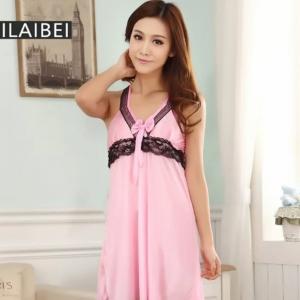 Sweet Pink Sexy Dress ชุดนอนสายเดี่ยวผ้ามันลื่นสีชมพู ขลิบลูกไม้สีดำบริเวณสายบ่าและใต้อก