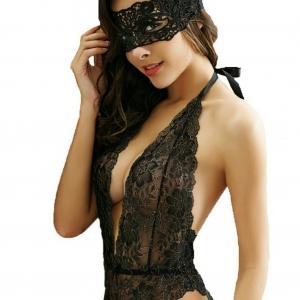 2in1 Sexy Bodysuit with Mask ชุดนบอดี้สูทผ้าลูกไม้สีดำทอลายดอกกุไม้แสนสวย พร้อมแผ่นปิดตาลูกไม้