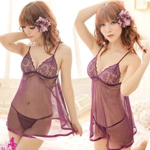 2in1 Sexy Dress ชุดนอนเซ็กซี่ผ้าซีทรูสีม่วงทรงปล่อยแต่งลูกไม้อก สาวอวบใส่ได้ 8104
