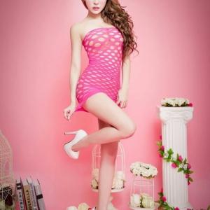 Sexy Skirt Hot Pink Rose Stocking ชุดทอตาข่ายลายดอกไม้สไตล์กระโปรงสีชมพูเข้ม