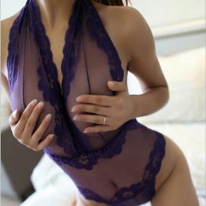 Purple Lace Sexy Bodysuit ชุดนอนเซ็กซี่ซีทรูลายลูกไม้สีม่วงแบบบอดี้สูทแนบเนื้อ