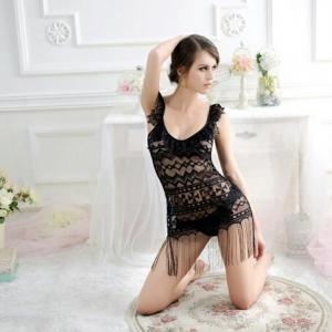 2in1 Sexy Black Lace Tassel Dress ชุดนอนเซ็กซี่สีดำลูกไม้แต่งพู่ระบาย พร้อมจีสตริงลูกไม้