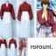 รหัส rorouni ชุดคอสเพลย์การ์ตูนซามูไรพเนจร รุโรนิ เคนซิง สีขาว+แดง thumbnail 2