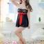 2in1 Sexy Dress ชุดนอนเซ็กซี่ซีทรูผ้าลูกไม้สีดำเกาะอกแต่งโบว์แดง+จีสตริง thumbnail 2