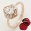 ฟรีกล่องแหวน แหวนเคลือบทองคำ 14K หัวแหวนดอกไม้ White Sapphire, Oval Cut, Flower Style ขนาดแหวนเบอร์ 7.5 thumbnail 1