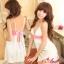 2in1 Sexy Princess Dress ชุดนอนเซ็กซี่ผ้ามันลื่นสีขาวแต่งลูกไม้สีชมพูใต้อก พร้อมจีสตริง thumbnail 1