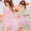 2in1 Sexy Dress ชุดนอนเซ็กซี่สีชมพูทรงย้วยชายลูกไม้หวานๆ+จีสตริง MM8270 thumbnail 1