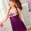 2in1 Sexy Princess Dress ชุดนอนเซ็กซี่ผ้ามันลื่นสีม่วงแต่งลูกไม้อก พร้อมจีสตริง thumbnail 2