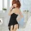 2in1 Sexy Diva Dress ชุดนอนเซ็กซี่ผ้าซีทรูสีดำเกาะอกแต่งระบายที่อกและชาย พร้อมจีสตริง mm5058 thumbnail 4