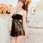 2in1 Sexy Dress ชุดนอนเซ็กซี่ซีทรูสีดำสุดหรูแต่งระบายอก สายคล้องคอ+จีสตริง thumbnail 4